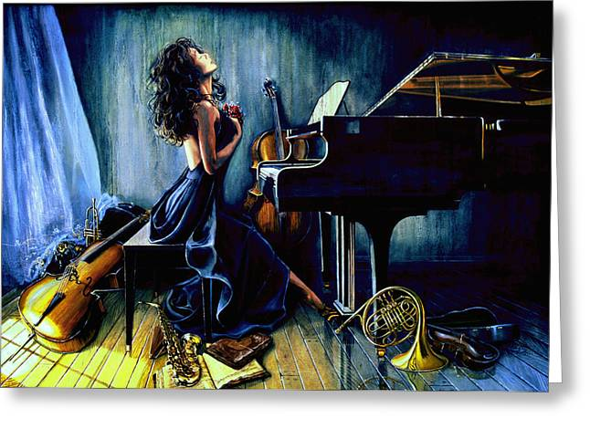 Piano Greeting Cards - Appassionato Greeting Card by Hanne Lore Koehler