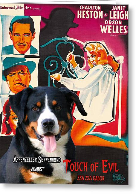 Portrait Of Evil Greeting Cards - Appenzeller Sennenhund - Appenzell Cattle Dog  Art Canvas Print - Touch of Evil Movie Poster Greeting Card by Sandra Sij