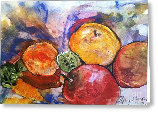 Wild Orchards Paintings Greeting Cards - Appetite for Color Greeting Card by Sherry Harradence