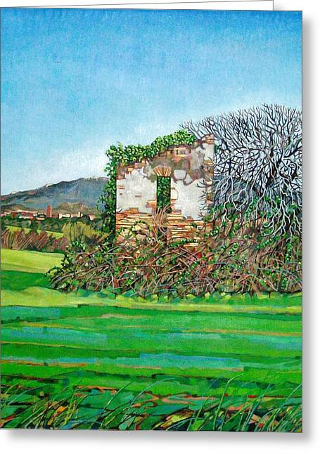 Exterior Wall Greeting Cards - Appia Antica, House, 2008 Greeting Card by Noel Paine