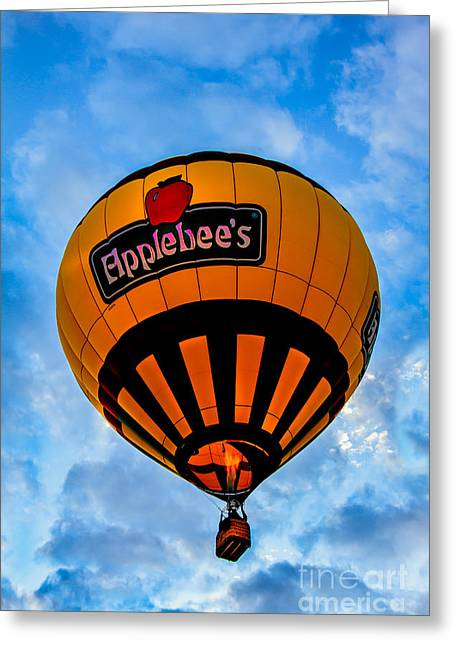 West Wetland Park Greeting Cards - Applebees  Hot Air  Balloon Greeting Card by Robert Bales