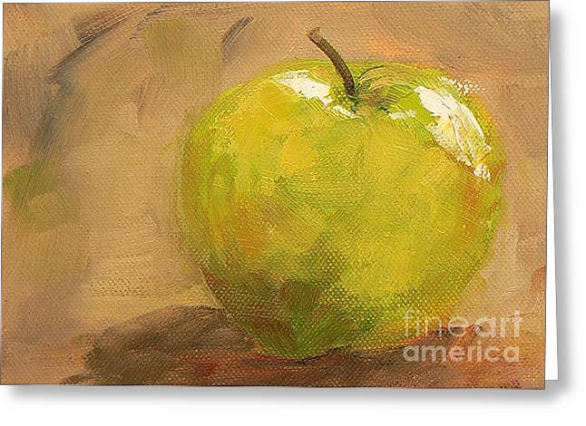Still Life With Green Apples Greeting Cards - Apple a Day Greeting Card by Marietjie Du Toit