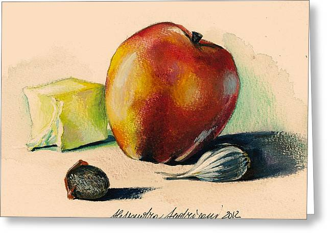 Painted Recipes Greeting Cards - Apple Greeting Card by Alessandra Andrisani