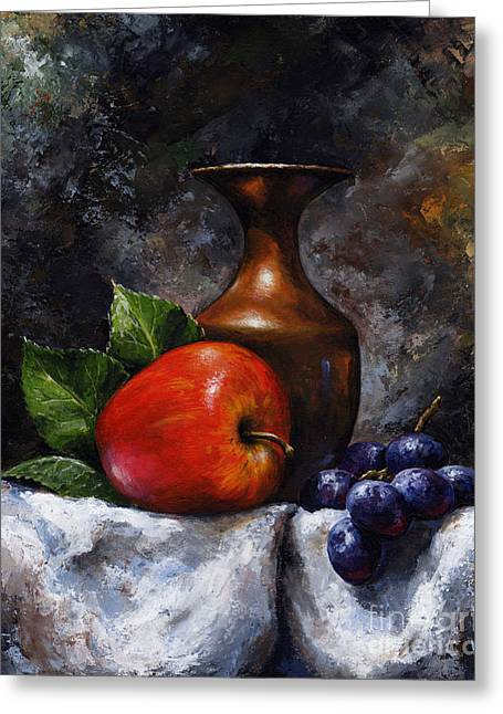 Grape Print Greeting Cards - Apple and grapes Greeting Card by Emerico Imre Toth