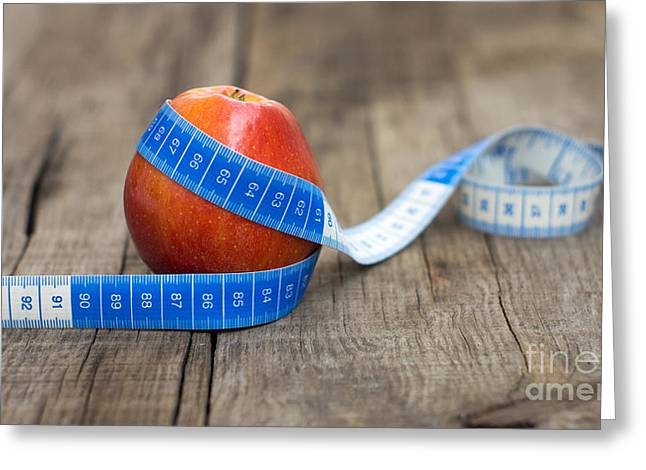 Tape Greeting Cards - Apple and Measuring tape Greeting Card by Aged Pixel
