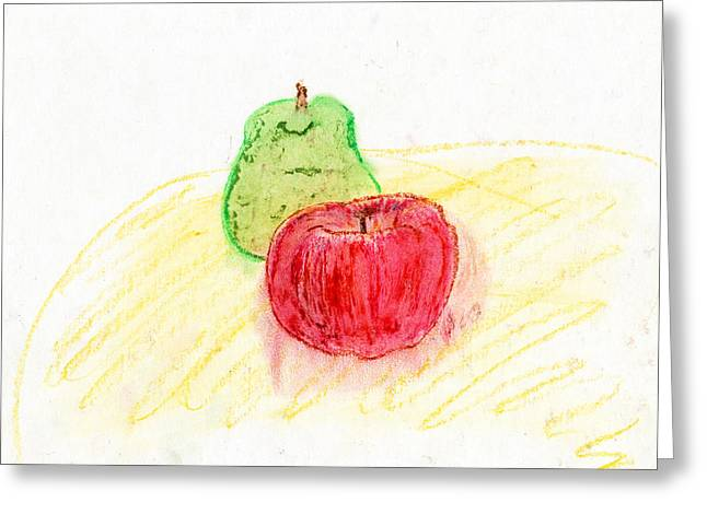 Apple Pastels Greeting Cards - Apple and Pear Greeting Card by Kristen Heyden
