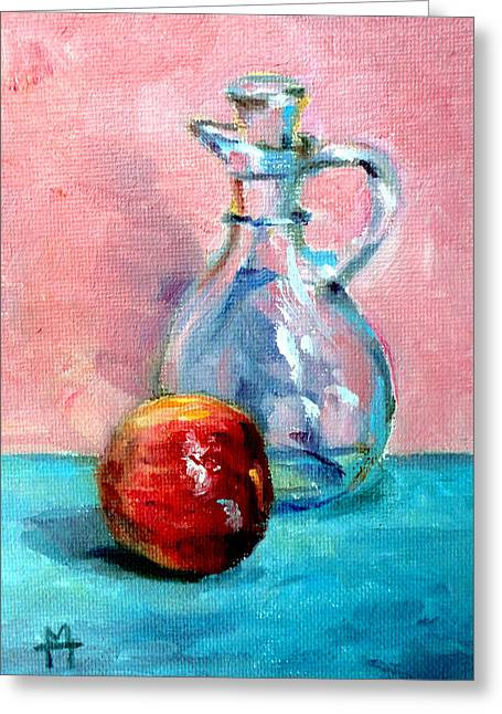 Mountain Climbing Print Paintings Greeting Cards - Apple and Pitcher Greeting Card by Mark Hartung