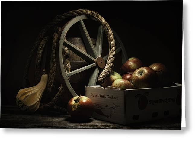 Barrel Greeting Cards - Apple Basket Still Life Greeting Card by Tom Mc Nemar