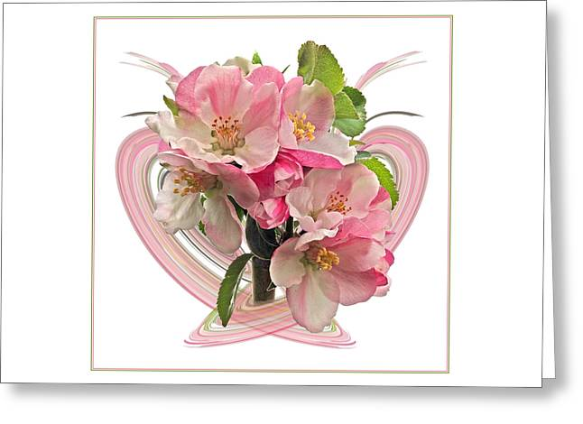 Garden Petal Image Greeting Cards - Apple Blossom Abstract Greeting Card by Gill Billington