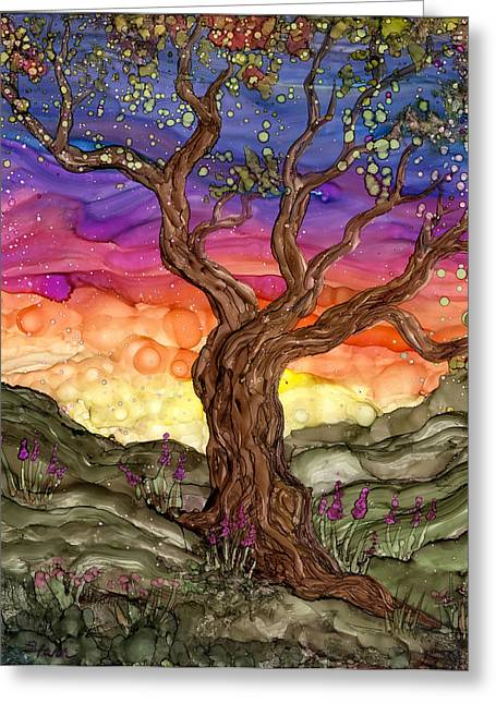 Alcohol Inks Greeting Cards - Apple Blossom Greeting Card by Ellen Starr