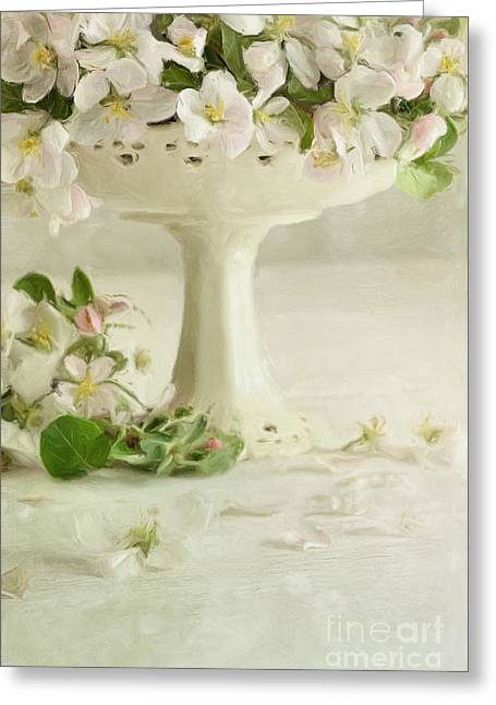 Stamen Digital Greeting Cards - Apple blossom flowers in vase on table/Digital painting  Greeting Card by Sandra Cunningham