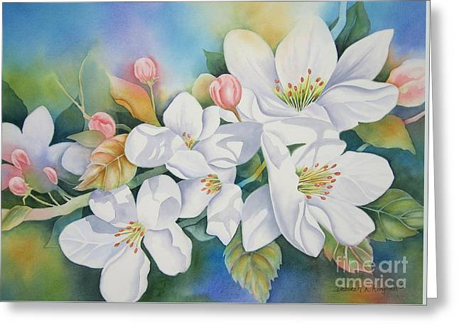 Apple Blossom Time Greeting Card by Deborah Ronglien