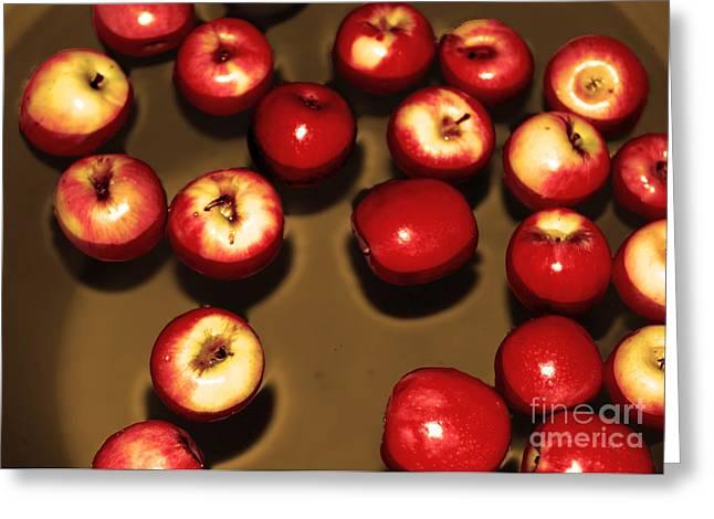Apples; Bobbing; Apple Greeting Cards - Apple Bobbing Greeting Card by Cassandra Buckley