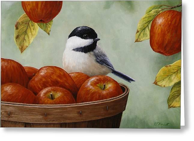 Bird Song Greeting Cards - Apple Chickadee Greeting Card 1 Greeting Card by Crista Forest