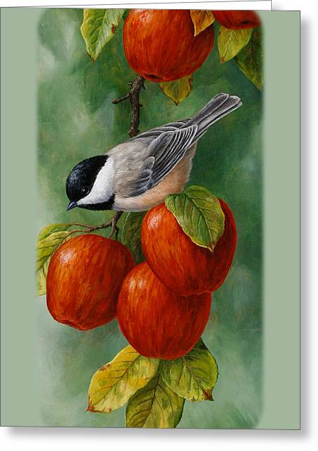 Apple Paintings Greeting Cards - Apple Chickadee iPhone5 Case V1 Greeting Card by Crista Forest