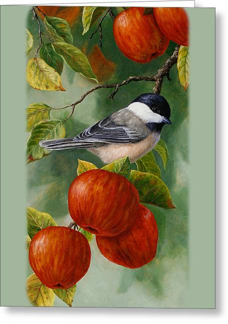Apple Paintings Greeting Cards - Apple Chickadee iPhone5 Case V2 Greeting Card by Crista Forest
