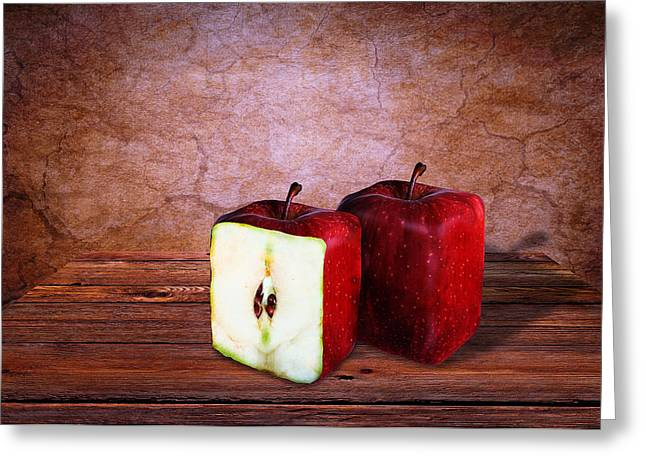 Geometric Image Greeting Cards - Apple cube Greeting Card by Mihaela Pater