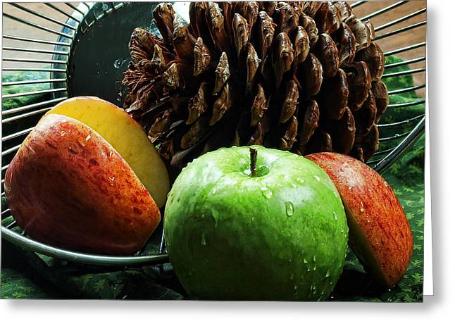 Edible Digital Art Greeting Cards - Apple Delight Greeting Card by Camille Lopez