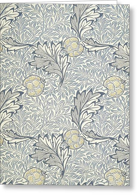 Print Tapestries - Textiles Greeting Cards - Apple Design 1877 Greeting Card by William Morris