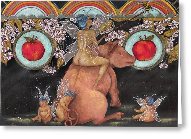 Pigs Pastels Greeting Cards - Apple Fairy Greeting Card by Carole Robare