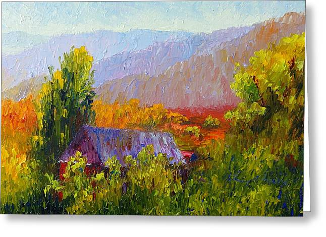 Terry Chacon Greeting Cards - Apple Farm in Fall Greeting Card by Terry  Chacon