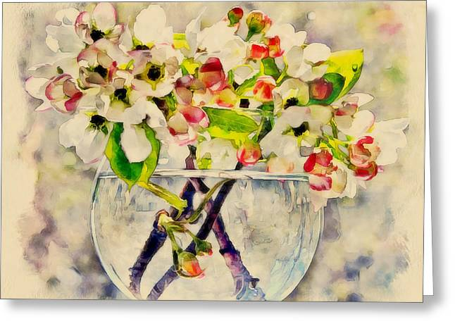 Apple Flowers In Glass Jar Greeting Card by Yury Malkov