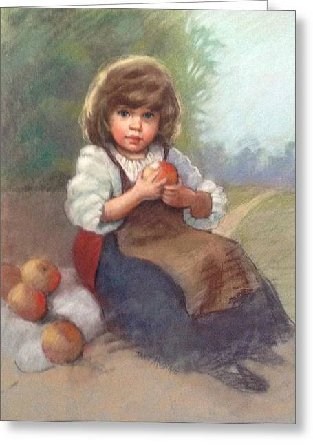 Apron Pastels Greeting Cards - Apple Girl Greeting Card by Janet McGrath