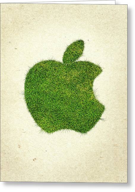 Wasted Greeting Cards - Apple Grass Logo Greeting Card by Aged Pixel