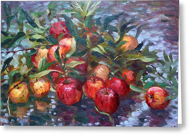 Apples Greeting Cards - Apple Harvest at Violas Garden Greeting Card by Ylli Haruni