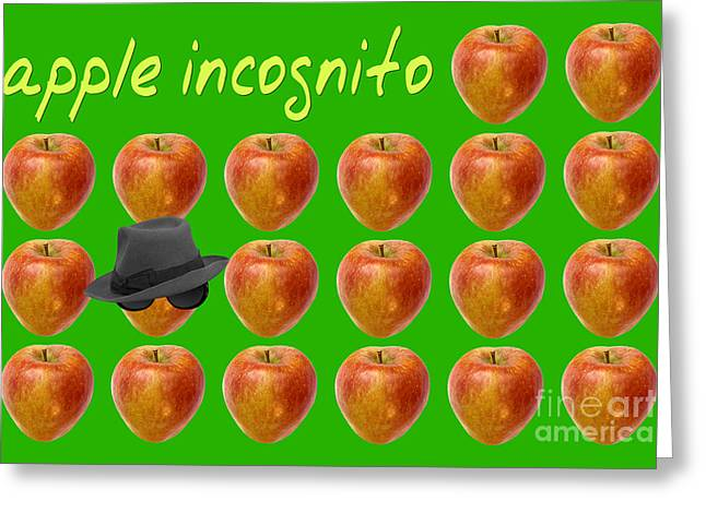 Green Hat Art Greeting Cards - Apple Incognito Greeting Card by Natalie Kinnear