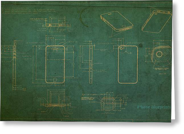 Schematic Greeting Cards - Apple iPhone Vintage Retro Blueprints Plans on Worn Distressed Canvas Greeting Card by Design Turnpike