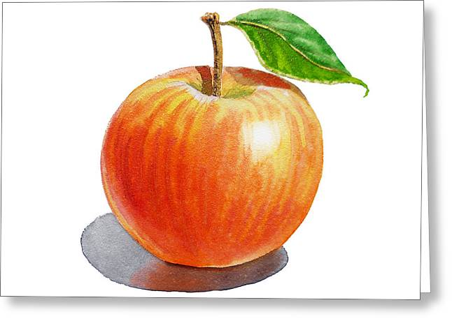 Apple Art Greeting Cards - Red Apple Greeting Card by Irina Sztukowski