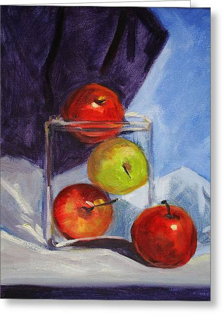 White Cloth Greeting Cards - Apple Jar Still Life Painting Greeting Card by Nancy Merkle