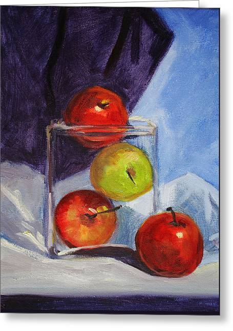 Glass Table Reflection Paintings Greeting Cards - Apple Jar Still Life Painting Greeting Card by Nancy Merkle