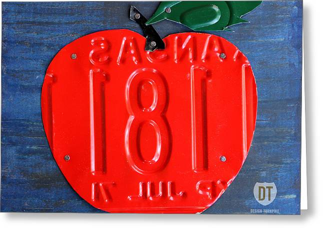 Apple Mixed Media Greeting Cards - Apple License Plate Art Greeting Card by Design Turnpike