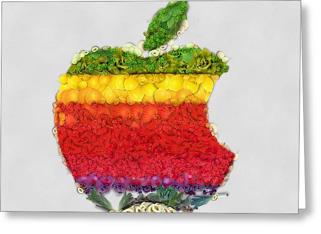 Cellphone Greeting Cards - Apple logo fruits and vegetables art Greeting Card by Eti Reid