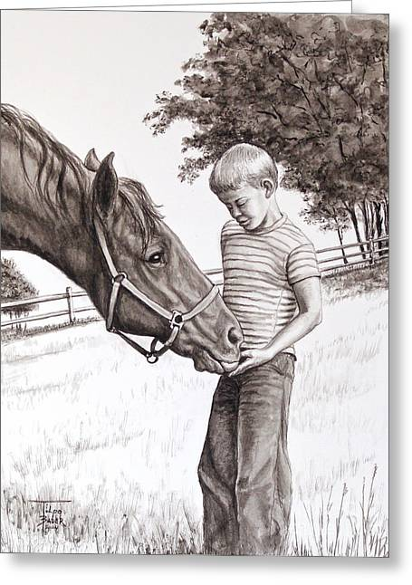 Pasture Scenes Drawings Greeting Cards - Apple Lovers Greeting Card by Art By - Ti   Tolpo Bader