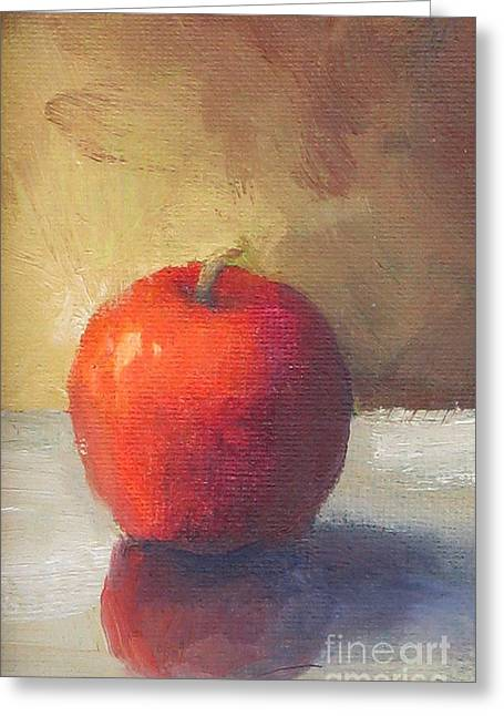 Apple Paintings Greeting Cards - Apple Greeting Card by Maria Hunt