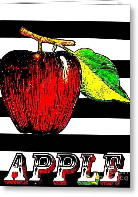 French Pears Greeting Cards - Apple on Black White Stripes Art Print Greeting Card by ArtyZen Home