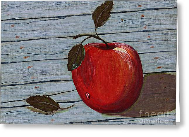 Shadows On Apples Greeting Cards - Apple on Board Greeting Card by Barbara Griffin