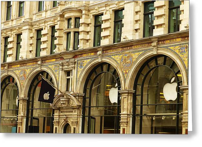 Historical Buildings Greeting Cards - Apple On Regent Street Greeting Card by Connie Handscomb