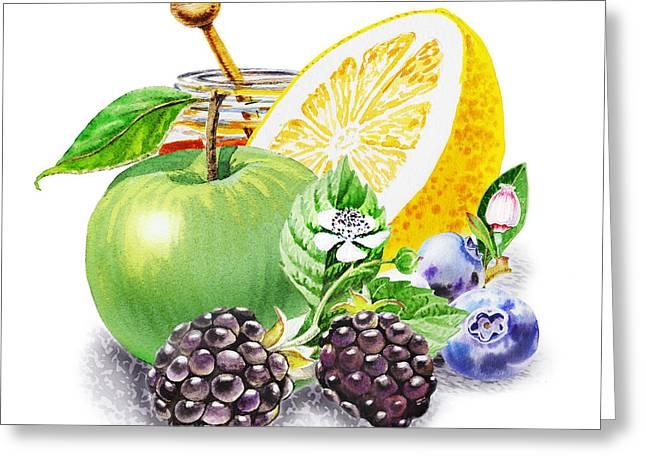 Blueberry Paintings Greeting Cards - Apple Orange And Berries Greeting Card by Irina Sztukowski