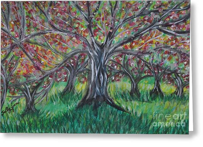 Apple Pastels Greeting Cards - Apple Orchard Greeting Card by Sally Rice