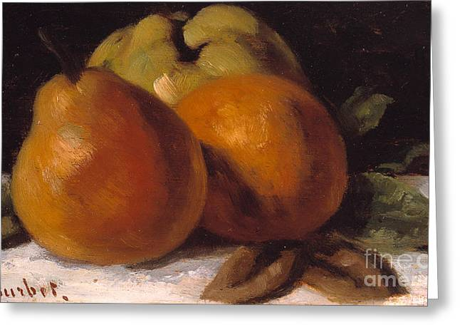 Fine Dining Canvases Greeting Cards - Apple Pear and Orange Greeting Card by Gustave Courbet