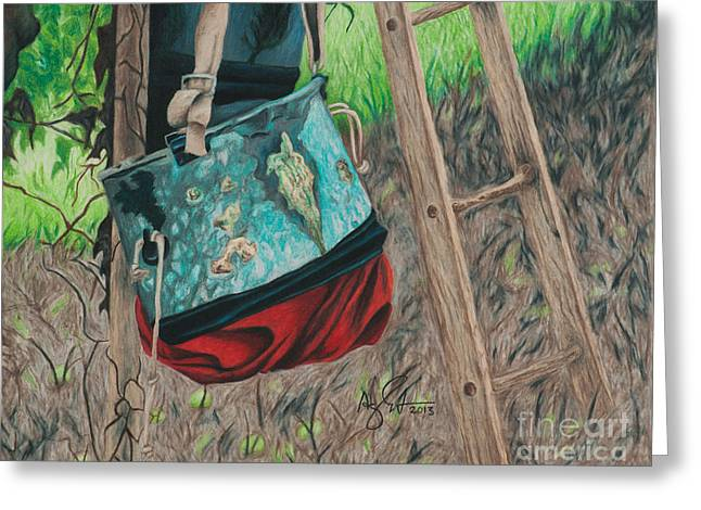 Picking Drawings Greeting Cards - Apple picking bag Greeting Card by Troy Argenbright