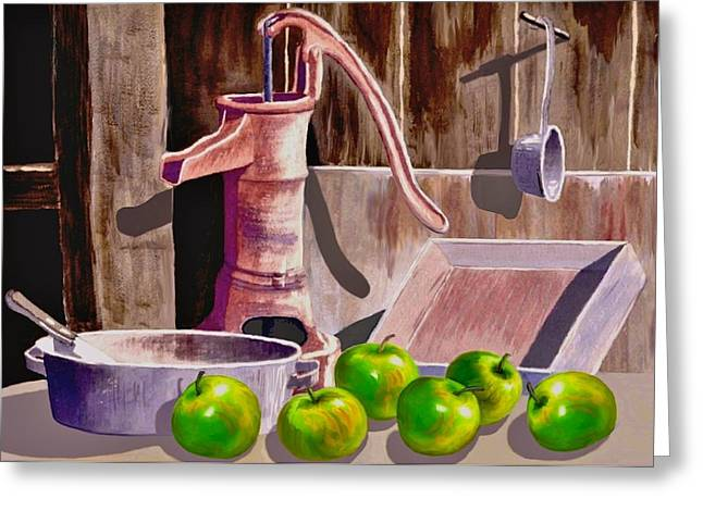 Packing Paintings Greeting Cards - Apple Pie Greeting Card by Ronald Chambers
