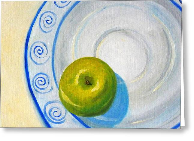 American Food Paintings Greeting Cards - Apple Plate Greeting Card by Nancy Merkle