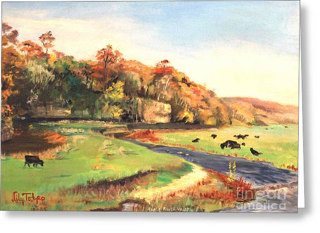 Mid West Landscape Art Greeting Cards - Apple River Valley IL. Autumn Greeting Card by Art By Tolpo Collection