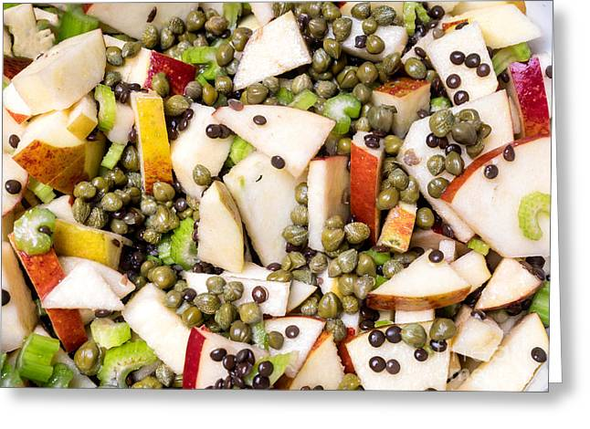 Salad Dressing Greeting Cards - Apple salad with capers and leaf celery Greeting Card by Frank Bach