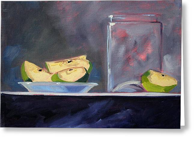 Pare Greeting Cards - Apple Snack Greeting Card by Nancy Merkle